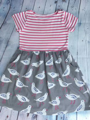 Mini Boden pink and white striped hotchpotch dress with seagull design age 6-7